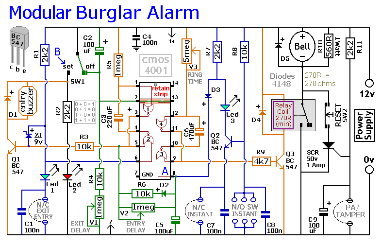 Car Alarm Circuit Diagram | An Expandable Multi Zone Modular Burglar Alarm Circuit Diagram And