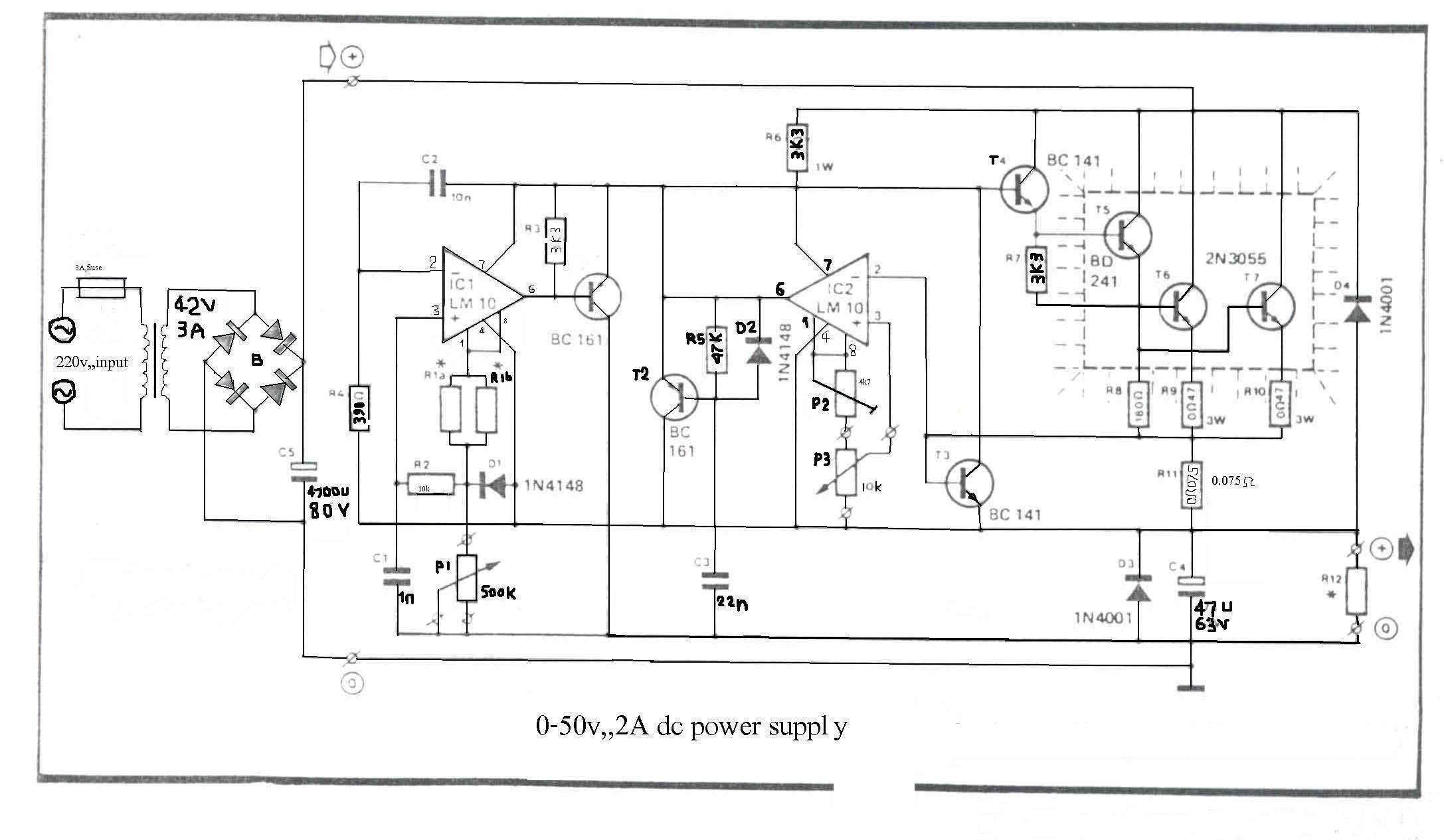 0-50V 2A Bench power supply circuit diagram and instructions