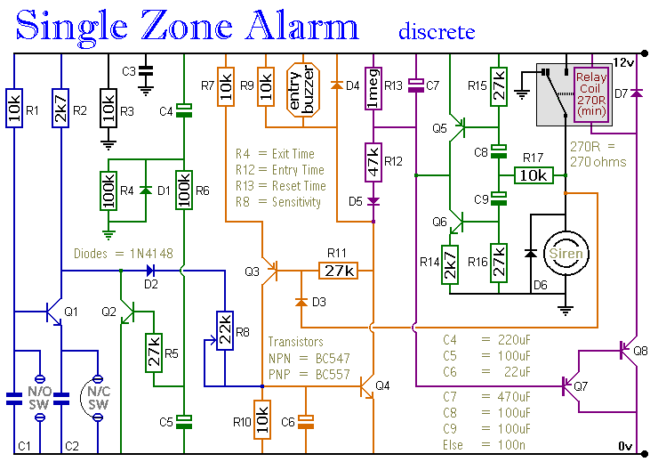 A transistor based single zone alarm circuit diagram and instructions on wiring diagram for alarm keypad Basic HVAC Control Wiring Garage Opener Wiring Diagram