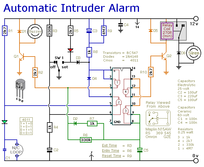 a simpler cmos single zone alarm circuit diagram and instructions rh hobby circuits com Cobra Car Alarm Wiring Diagram Viper Car Alarm Wiring Diagram