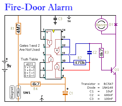 a simple fire door alarm circuit diagram and instructions Telephone Wiring Diagram