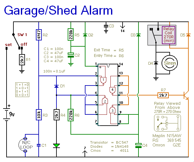 A Shed    Garage Alarm Circuit Diagram And Instructions