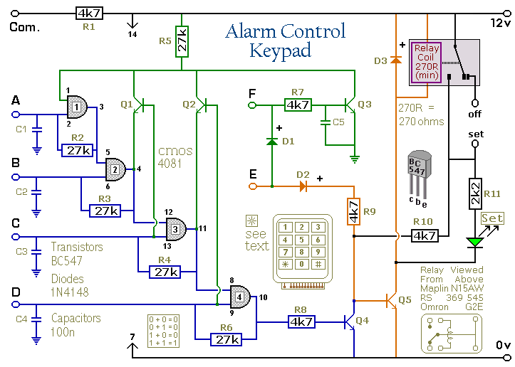 A 4 Digit Alarm Control Keypad Circuit Diagram And