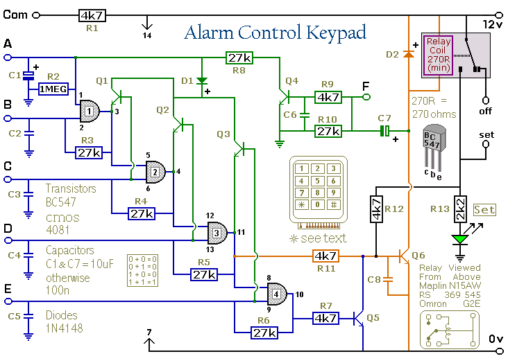 Wiring Diagram For Alarm Keypad : Simple door or shed alarm schematic diagram get free