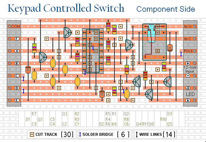 a 4 digit keypad controlled switch circuit diagram and instructions