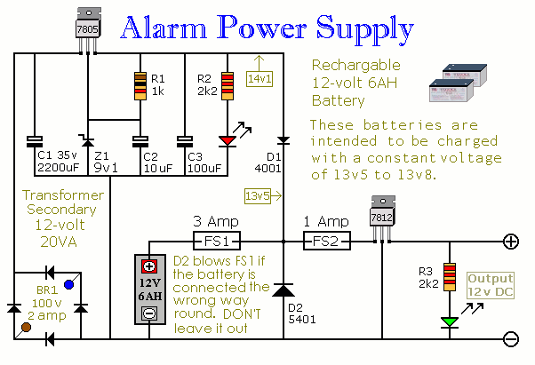 An Alarm Power Supply With Battery Back-up circuit diagram and ...