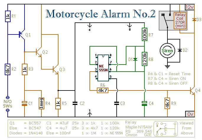 a 555 timer based motorcycle alarm circuit diagram and instructions rh hobby circuits com Car Alarm Wiring Diagram Viper Alarm Wiring Diagram