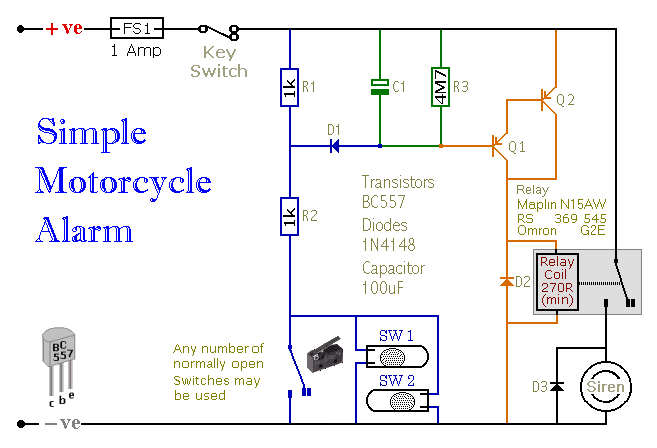 a simple transistor based motorcycle alarm circuit diagram and rh hobby circuits com Federal Signal Siren Federal Signal Siren