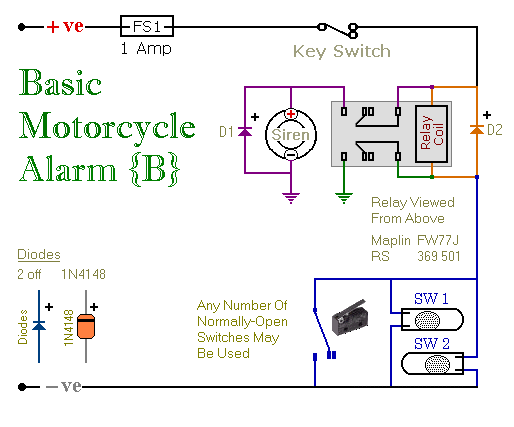 Two Simple Relay Based Motorcycle Alarms circuit diagram and ... on vacuum relay diagram, 5 prong relay diagram, dpst relay diagram, electronic relay diagram, power relay diagram, common relay diagram, 5 blade relay wiring diagram, spst relay diagram, spdt relay diagram, dpdt relay diagram, latching relay diagram, relay schematic diagram, starter kill relay diagram, relay switch wiring diagram, universal relay diagram, momentary relay diagram, electrical relay diagram, 4 pole relay wiring diagram, single pole single throw relay diagram, 5 pin 12v relay diagram,