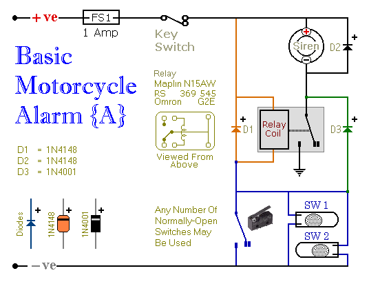 two simple relay based motorcycle alarms circuit diagram and rh hobby circuits com motorcycle starter relay wiring diagram motorcycle horn relay wiring diagram
