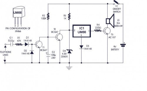 Soft Musical Telephone Ringer-Circuit diagram