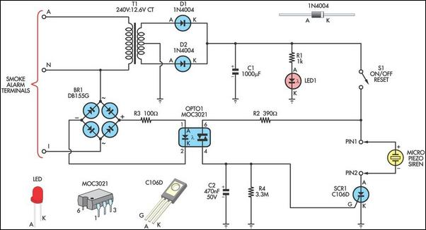 remote alarm for smoke detector circuit diagram and instructions rh hobby circuits com