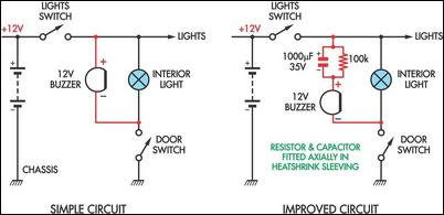 Simple Headlight Reminders Circuit Diagram And Instructions