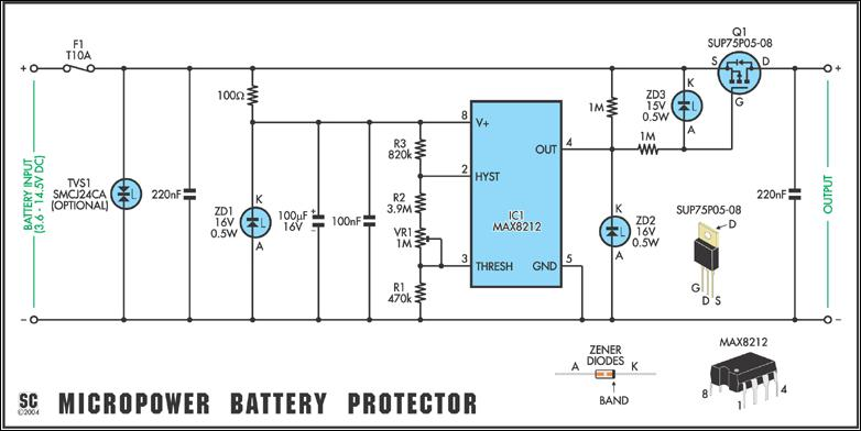 Versatile Micropower Battery Protector Circuit Diagram And