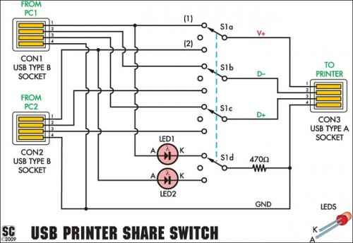 USB Printer Share Switch Circuit Project-Circuit diagram