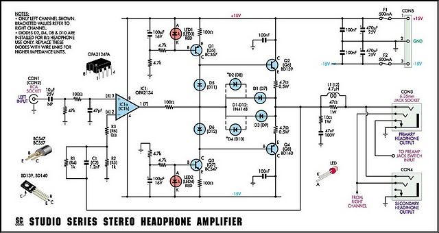 studio series stereo headphone amplifier circuit diagram and rh hobby circuits com stereo headphone amplifier circuit diagram stereo headphone amplifier circuit diagram