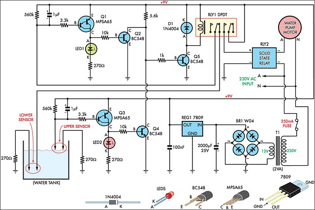 Automatic Water Tank Filler Circuit Diagram Circuit