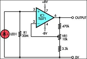 Using LED As A Light Sensor circuit diagram and instructions