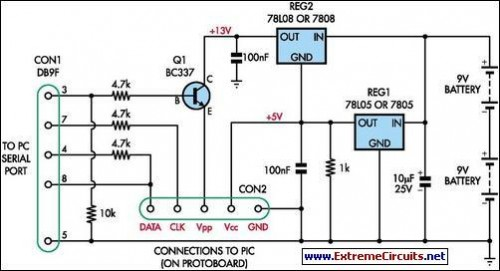 Simple Universal PIC Programmer-Circuit diagram