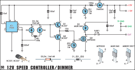 12v Speed Controller Dimmer Circuit Diagram And Instructions