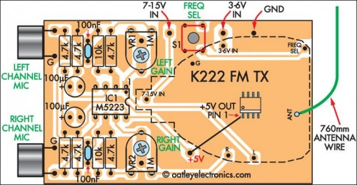 Quality Stereo Wireless Microphone or Audio Link pcb parts layout